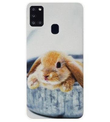 ADEL Siliconen Back Cover Softcase Hoesje voor Samsung Galaxy A21s - Konijn
