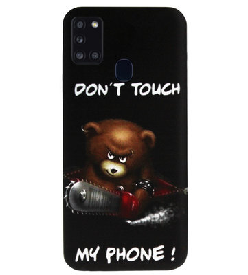ADEL Siliconen Back Cover Softcase Hoesje voor Samsung Galaxy A21s - Don't Touch My Phone Beren