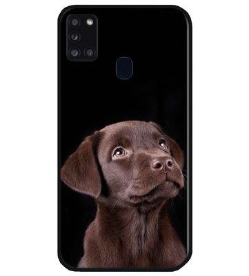 ADEL Siliconen Back Cover Softcase Hoesje voor Samsung Galaxy A21s - Labrador Retriever Hond Bruin
