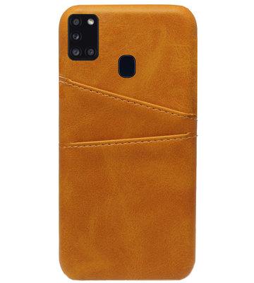 ADEL Kunstleren Back Cover Pasjes Hoesje voor Samsung Galaxy A21s - Bruin