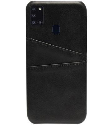ADEL Kunstleren Back Cover Pasjes Hoesje voor Samsung Galaxy A21s - Zwart