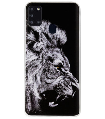 ADEL Siliconen Back Cover Softcase Hoesje voor Samsung Galaxy A21s - Leeuw Zwart