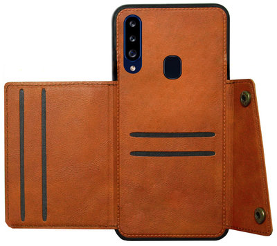ADEL Kunstleren Back Cover Pasjeshouder Hoesje voor Samsung Galaxy A20s - Bruin
