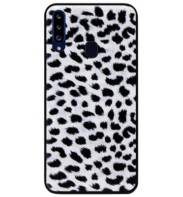 ADEL Siliconen Back Cover Softcase Hoesje voor Samsung Galaxy A20s - Luipaard Wit