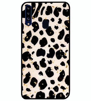 ADEL Siliconen Back Cover Softcase Hoesje voor Samsung Galaxy A20s - Luipaard Bling Glitter