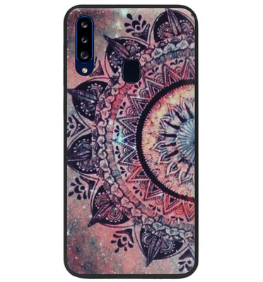 ADEL Siliconen Back Cover Softcase Hoesje voor Samsung Galaxy A20s - Mandala Bloemen Rood
