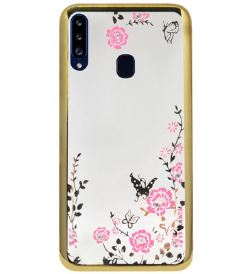 ADEL Siliconen Back Cover Softcase Hoesje voor Samsung Galaxy A20s - Glimmend Glitter Vlinder Bloemen Goud