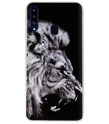 ADEL Siliconen Back Cover Softcase Hoesje voor Samsung Galaxy A20s - Leeuw Zwart