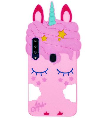 ADEL Siliconen Back Cover Softcase Hoesje voor Samsung Galaxy A20s - Eenhoorn Roze