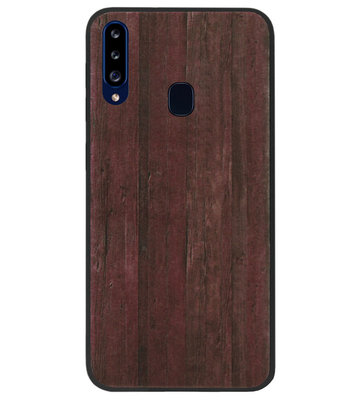 ADEL Siliconen Back Cover Softcase Hoesje voor Samsung Galaxy A20s - Hout Design Bruin