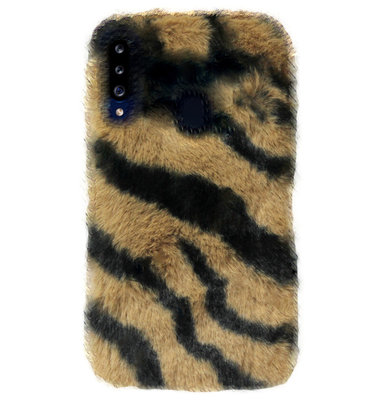 ADEL Siliconen Back Cover Softcase Hoesje voor Samsung Galaxy A20s - Luipaard Fluffy Bruin