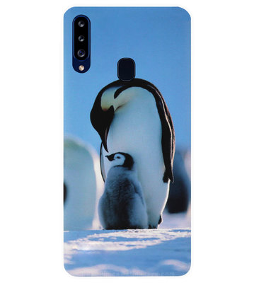 ADEL Siliconen Back Cover Softcase Hoesje voor Samsung Galaxy A20s - Pinguin Blauw