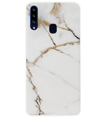ADEL Siliconen Back Cover Softcase Hoesje voor Samsung Galaxy A20s - Marmer Goud
