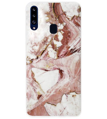 ADEL Siliconen Back Cover Softcase Hoesje voor Samsung Galaxy A20s - Marmer Rood