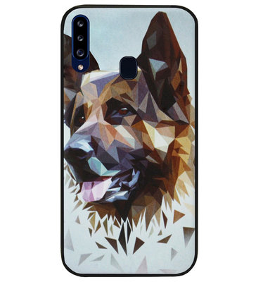 ADEL Siliconen Back Cover Softcase Hoesje voor Samsung Galaxy A20s - Duitse Herder Hond
