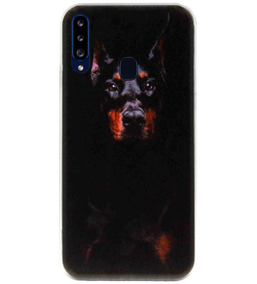 ADEL Siliconen Back Cover Softcase Hoesje voor Samsung Galaxy A20s - Dobermann Pinscher Hond