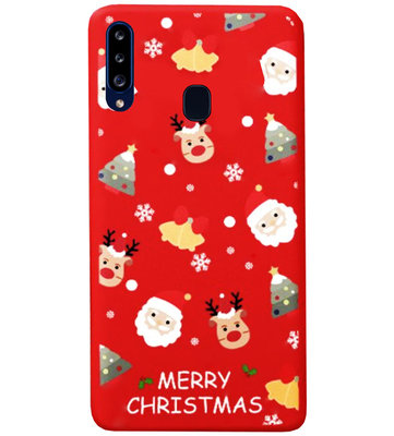 ADEL Siliconen Back Cover Softcase Hoesje voor Samsung Galaxy A20s - Kerstmis Rood