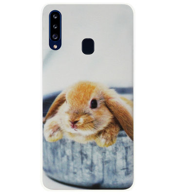 ADEL Siliconen Back Cover Softcase Hoesje voor Samsung Galaxy A20s - Konijn