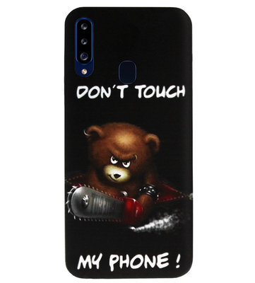 ADEL Siliconen Back Cover Softcase Hoesje voor Samsung Galaxy A20s - Don't Touch My Phone Beren