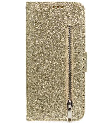 ADEL Kunstleren Book Case Pasjes Portemonnee Hoesje voor Samsung Galaxy A20s - Bling Bling Glitter Goud