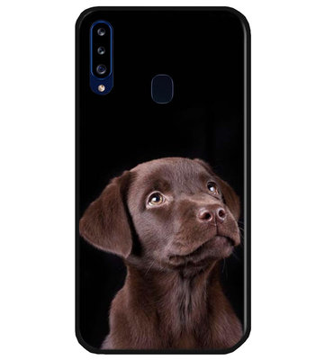 ADEL Siliconen Back Cover Softcase Hoesje voor Samsung Galaxy A20s - Labrador Retriever Hond Bruin