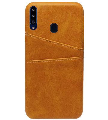 ADEL Kunstleren Back Cover Pasjes Hoesje voor Samsung Galaxy A20s - Bruin