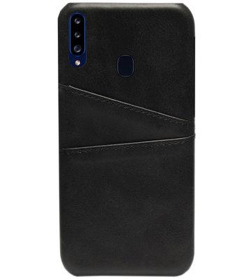 ADEL Kunstleren Back Cover Pasjes Hoesje voor Samsung Galaxy A20s - Zwart