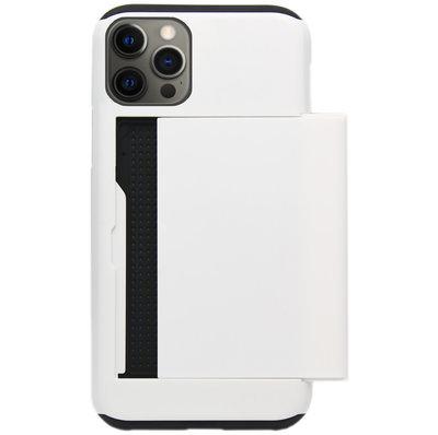 ADEL Kunststof Back Cover Hardcase Hoesje voor iPhone 12 (Pro) - Pasjeshouder Wit