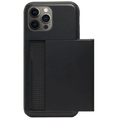 ADEL Kunststof Back Cover Hardcase Hoesje voor iPhone 12 (Pro) - Pasjeshouder Zwart