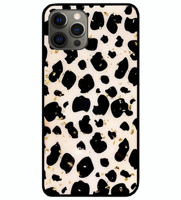 ADEL Siliconen Back Cover Softcase Hoesje voor iPhone 12 (Pro) - Luipaard Bling Glitter