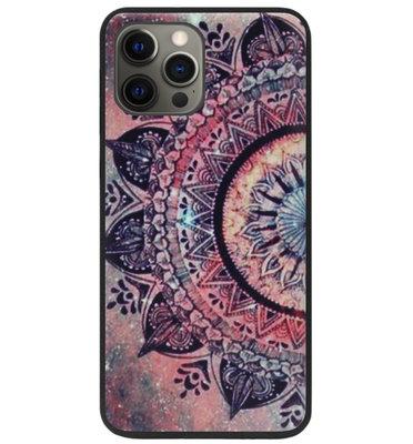 ADEL Siliconen Back Cover Softcase Hoesje voor iPhone 12 (Pro) - Mandala Bloemen Rood