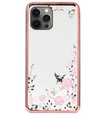 ADEL Siliconen Back Cover Softcase Hoesje voor iPhone 12 (Pro) - Glimmend Glitter Vlinder Bloemen Roze