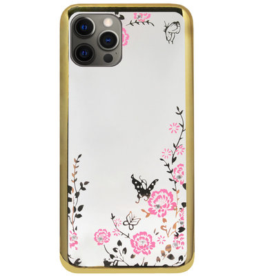 ADEL Siliconen Back Cover Softcase Hoesje voor iPhone 12 (Pro) - Glimmend Glitter Vlinder Bloemen Goud