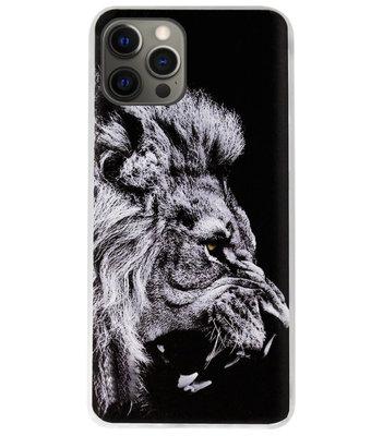 ADEL Siliconen Back Cover Softcase Hoesje voor iPhone 12 (Pro) - Leeuw Zwart