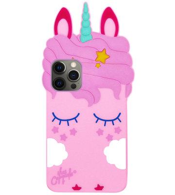 ADEL Siliconen Back Cover Softcase Hoesje voor iPhone 12 (Pro) - Eenhoorn Roze