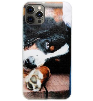 ADEL Siliconen Back Cover Softcase Hoesje voor iPhone 12 (Pro) - Berner Sennenhond