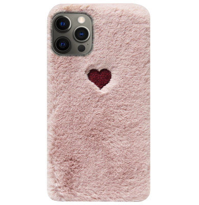 ADEL Siliconen Back Cover Softcase Hoesje voor iPhone 12 (Pro) - Hartjes Roze