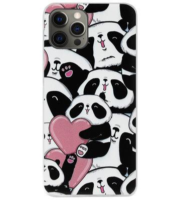 ADEL Siliconen Back Cover Softcase Hoesje voor iPhone 12 (Pro) - Panda Hartjes