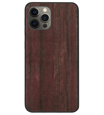 ADEL Siliconen Back Cover Softcase Hoesje voor iPhone 12 (Pro) - Hout Design Bruin