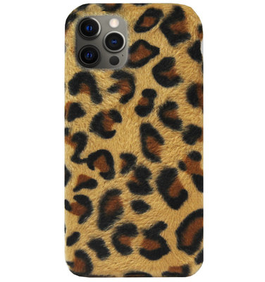 ADEL Siliconen Back Cover Softcase Hoesje voor iPhone 12 (Pro) - Luipaard Fluffy Bruin