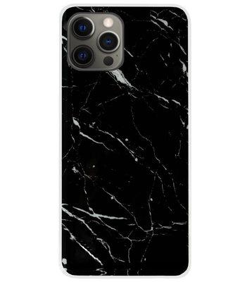 ADEL Siliconen Back Cover Softcase Hoesje voor iPhone 12 (Pro) - Marmer Zwart