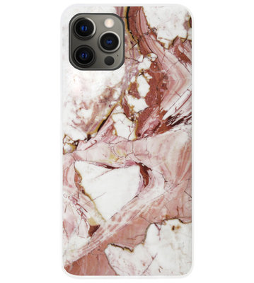 ADEL Siliconen Back Cover Softcase Hoesje voor iPhone 12 (Pro) - Marmer Rood