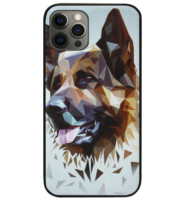 ADEL Siliconen Back Cover Softcase Hoesje voor iPhone 12 (Pro) - Duitse Herder Hond