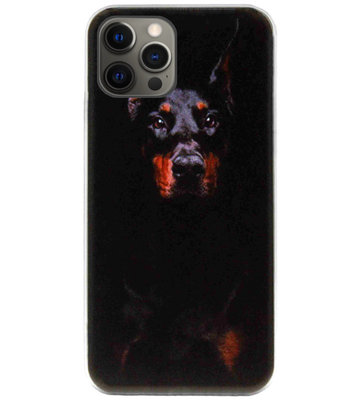ADEL Siliconen Back Cover Softcase Hoesje voor iPhone 12 (Pro) - Dobermann Pinscher Hond