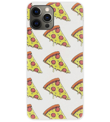 ADEL Siliconen Back Cover Softcase Hoesje voor iPhone 12 (Pro) - Junkfood Pizza