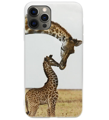 ADEL Siliconen Back Cover Softcase Hoesje voor iPhone 12 (Pro) - Giraf