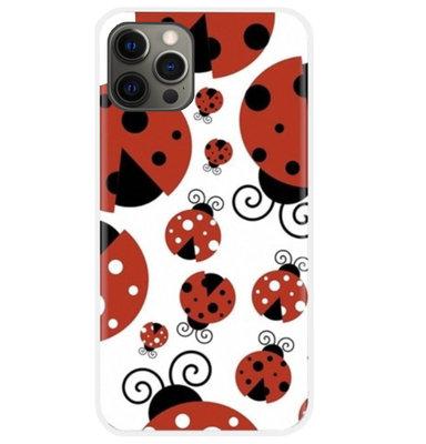 ADEL Siliconen Back Cover Softcase Hoesje voor iPhone 12 (Pro) - Lieveheersbeestjes