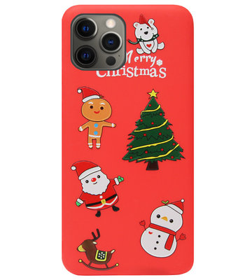 ADEL Siliconen Back Cover Softcase Hoesje voor iPhone 12 (Pro) - Kerstmis Rood