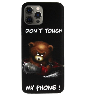 ADEL Siliconen Back Cover Softcase Hoesje voor iPhone 12 (Pro) - Don't Touch My Phone Beren