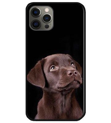 ADEL Siliconen Back Cover Softcase Hoesje voor iPhone 12 (Pro) - Labrador Retriever Hond Bruin